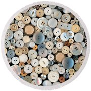 Sewing - Buttons - Lots Of White Buttons Round Beach Towel