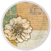 Shabby Chic Floral 1 Round Beach Towel