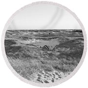 Shackleford Banks Camping Round Beach Towel