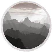 Shades Of Gray Round Beach Towel