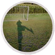 Shadow From A Football Player Round Beach Towel