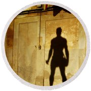 Shadow Wall Statue Round Beach Towel