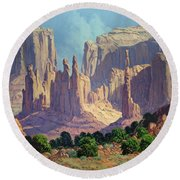 Shadows In The Valley Round Beach Towel by Randy Follis