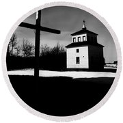 Shadows Of The Bell Tower Round Beach Towel