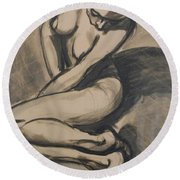 Shadows On The Sand1 - Nudes Gallery Round Beach Towel