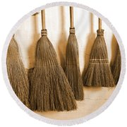 Shaker Brooms On A Wall Round Beach Towel