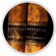 Shakespeare Leather Bound Books Round Beach Towel