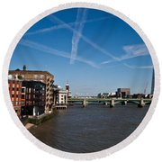 Shard And River Thames Round Beach Towel