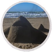 Shark Sand Sculpture Round Beach Towel