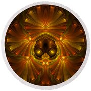 Shattered Five Leaf Clover Abstract Round Beach Towel