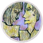 She And He Pen And Ink 2000 Digital Round Beach Towel