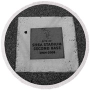 Shea Stadium Second Base Round Beach Towel by Rob Hans