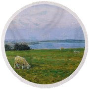 Sheep Grazing Round Beach Towel