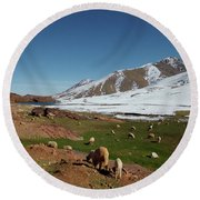 Sheep In The Atlas Mountains 02 Round Beach Towel