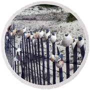 Shell-decorated Fence Round Beach Towel