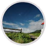 Shelter Cove Lighthouse Round Beach Towel