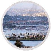 Shelter Island Point - San Diego Round Beach Towel