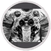 Shepard And Apollo 14 Round Beach Towel