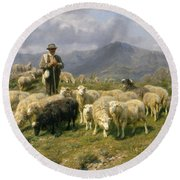 Shepherd Of The Pyrenees Round Beach Towel