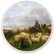 Shepherdess Resting With Her Flock Round Beach Towel