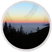 Sherbet Sunset Big Sur Round Beach Towel