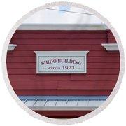 Shido Building Circa 1923 Round Beach Towel