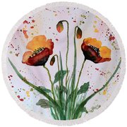 Shining Red Poppies Watercolor Painting Round Beach Towel