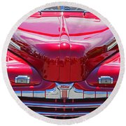 Shiny Red Ford Convertible. Round Beach Towel
