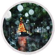 Shiny Tree In Bienville Square Round Beach Towel