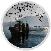 Ship In Backlight Round Beach Towel