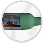 Ship On A Bottle With White Round Beach Towel