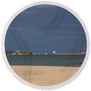 Ship On Lake Superior 3 C Round Beach Towel