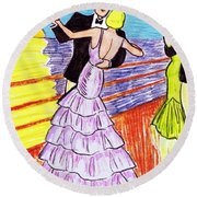 Shipboard Dancers Round Beach Towel