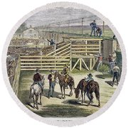 Shipping Cattle, 1877 Round Beach Towel