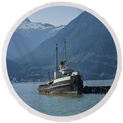 Shipping Freighter In Squamish British Columbia No.0187 Round Beach Towel