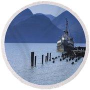 Shipping Freighter In Squamish British Columbia No.0201 Round Beach Towel