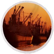 Shipping Freighters At Sunset Round Beach Towel