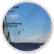 Ships In Oslo Harbor Round Beach Towel