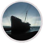 Shipwreck At Baltray Beach, Co Louth Round Beach Towel