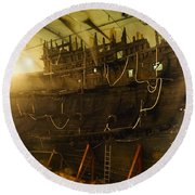 Shipwreck Of The Mary Rose, Portsmouth Round Beach Towel