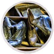 Shoe - Vintage Ladies Boots Round Beach Towel