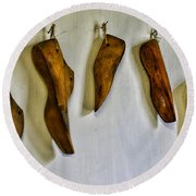 Shoe - Wooden Shoe Forms Round Beach Towel
