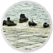 Shoes On The Danube Bank - Budapest Round Beach Towel