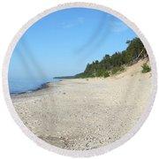 Shore Of Lake Superior Round Beach Towel