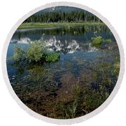 Shore Reflections Of Mt Tallac Round Beach Towel