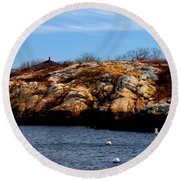 Rockport Shore Rocks - Greeting Card Round Beach Towel