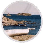 Shoreline Boat Round Beach Towel