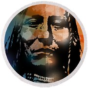 Shoshone Brave Round Beach Towel
