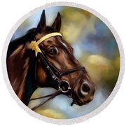 Show Horse Painting Round Beach Towel
