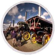 Showmans Engines At Dorset  Round Beach Towel